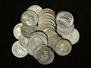 Lot Of 10 Washington Quarters W/ Full Dates 1932-1964 90 Silver Old Us Coins