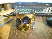 Large Goldtone Wide Bejeweled Cuff