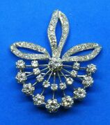 Antique 14k White Gold And Diamonds With 3 Total Carats Pin Brooch Or Pendant