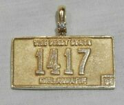 14k Yellow Gold And Diamond Delaware The First State License Plate Charm Pendant