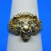 14k Yellow Gold Lion Head Ring With Diamond Eyes Size 6.5