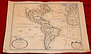 Early Hand Colored 18th Century Map Of America And Africa