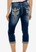 Womenand039s Apt. 9 Mid Rise Med Wash Bling Capris Cropped Jean Sizes 16 18 New