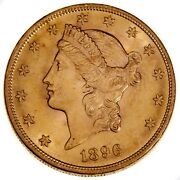 1896 20 Gold Coin Liberty Head Double Eagle In Choice Bu Condition