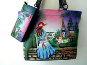 Anuschka Paris Sunrise Hand Painted Leather Shoulder Tote Purse And Wallet - Nwt