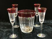 Waterford Crystal Simply Red Ice Bucket And 4 Matching Flutes, 5pcs Total. New.