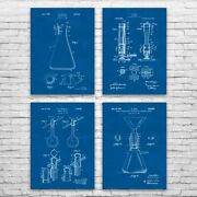 Chemistry Lab Patent Posters Set Of 4 Chemistry Gift Science Decor Wall Art
