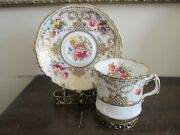Hammersley And Co England Lady Eileen Demitasse Cup And Saucer Heavy Gold Flowers
