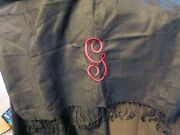 monogrammed Black Pashmina And Silk Scarf With Fringe And Embroidered - Initial G