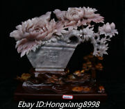 17and039and039 Rare Natural Powder Jade Carved Peony Flowers Birds Potted Plants Statue