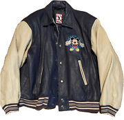 Vintage Mickey Mouse Inc. Leather Jacket - Navy And Tan Coat - Size Large