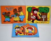 3 Connor Toys Vintage Wood Puzzles Little Red Riding Hood Peter And 3 Bears 0920