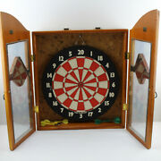 Vintage Wall-mounted Wooden Dart Board And Cabinet Glass Doors Huge And Heavy 27