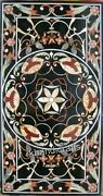 Marble Black Patio Table Top Marquetry Art Coffee Table With Elegant Look