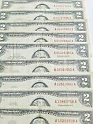 Series Of1963 2 Dollar Bill Note Red Seal Group Of 8 Set Unique Some Unc  8/10