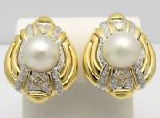 Pair 18k Yellow Gold Cultured Pearl And Diamond Clip/pierced Earrings