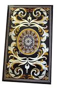 Black Marble Kitchen Table Top Pietra Dura Art Dinning Table With Heritage Art