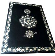 Marble Office Table Top Mother Of Pearl Inlaid Dining Table With Floral Design