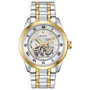 Bulova Menand039s Automatic Open Aperture 21 Jewel Two-tone 42mm Watch 98a230