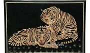 Black Marble Dinning Table Top Tiger Design Sofa Table With Inlay Work