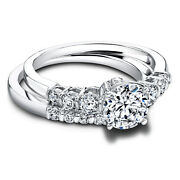 1.10 Ct Round Cut Real Diamond Engagement Band Sets 14k White Gold Womenand039s Rings
