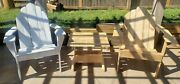 Outdoor Adirondack Chair Set Solid Reclaimed Wood Durable Patio Garden Furniture