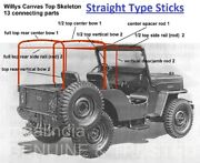 Stitched Rolled Back Soft Top For Cj Jeep Willys Cj2a Cj3a Straight Bows 1947-53