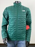 Mens Tnf The Thermoball Eco Insulated Fz Puffer Jacket Night Green