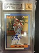 Mike Trout 2015 Topps Archives 1990 Topps 1 Draft Auto 34/50 Bgs Mint 10