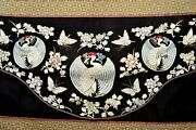 1900and039s Chinese Silk Embroidery Crane Butterfly Flower Panel Tapestry Hanging