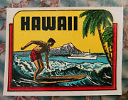 Original Vintage Travel Decal Hawaii Surfer Surfing Hot Rod Ford Woody Wagon Old
