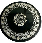 Round Marble Dining Table Top Mother Of Pearl Inlaid Sofa Table Floral Design