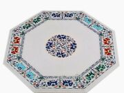 Marble Dining Table Top Elephant Design Island Table With Gemstone Inlay Work