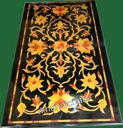 Yellow Stone Flower Design Island Table Top Marble Meeting Table 30 X 60 Inches