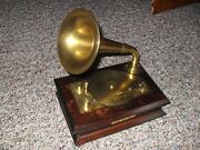 Vintage Rca Style Wooden Cased / Brass Victrola Music Box Fur Elise Beautiful