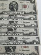 Series Of1953 2 Dollar Bill Note Red Seal Group Of 11 A,b,c Set Unique 8/10