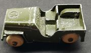 Army Jeep Die Cast With White Rubber Tires Wheels Maker Unknown Tootsie, Hubley