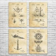 Nautical Sailing Patent Posters Set Of 4 Navy Officer Ship Captain Gift Wall Art