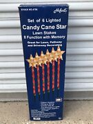 New Set Of 6 Hofertand039s 8 Function Christmas Candy Cane Star Light Lawn Stakes