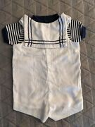 Vintage Baby Sailor Outfit Infant Jumper Navy White Popeye Shirt