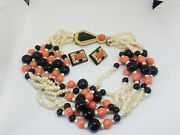 Kenneth Jay Lane Art Deco Faux Coral And Pearl Beaded Torsade Chunky Necklace