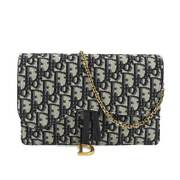 Christian Dior Trotter Chain Long Wallet Canvas Leather Navy Purse 90107801