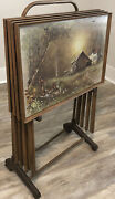 Vtg Tv Trays Andres Orpinas Set 4 W/stand Country Cottage Barn Farm Dinner Tray