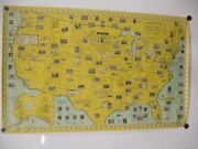 Map United States Pictorial Philatelic Ernest Dudley Chase Vintage Print 1959 Nm