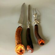 Henry Sears And Son Warranted Sterling Stag Antler Meat Carving Set