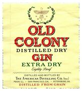Old Colony Extra Dry Gin Bottle Label L10