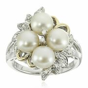 Freshwater Pearl Flower Ring With Diamonds In Sterling Silver And 14k Gold