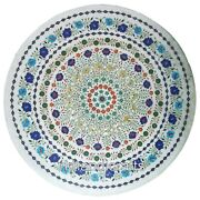 Coffee Table Top Inlaid With Gemstone White Marble Dining Table Heritage Art
