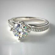 Real Diamond Engagement Ring Round Cut 0.70 Ct 14k Solid White Gold Size 5 6 7 8