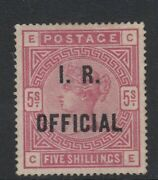 Gb -sgo9 Inland Revenue Stamp Scarce 5s Rose - Regummed With Pts Certificate